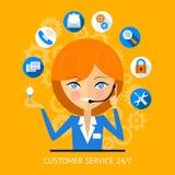 Icono del servicio de atención al cliente de una muchacha del centro de atención telefónica Foto de archivo libre de regalías