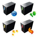 Icono del servidor de los ordenadores de empresa, vector Foto de archivo