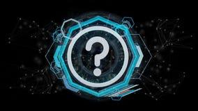 Icono del signo de interrogación de la tecnología en un círculo aislado en un backgrou ilustración del vector