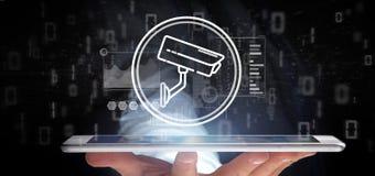 Icono del sistema de la cámara de seguridad de la tenencia del hombre de negocios y datos de las estadísticas - representación 3d imagen de archivo