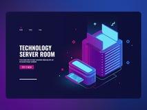 Icono del sitio del servidor, datacenter y concepto del acceso a bases de datos, web hosting, tecnología de almacenamiento de la  stock de ilustración