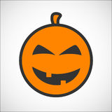 Icono del smiley del color de la calabaza de Halloween Ilustración del Vector
