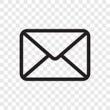Icono del sobre del correo electrónico Vector el símbolo del mensaje del correo aislado en fondo transparente ilustración del vector