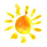 Icono del sol de la acuarela Imagen de archivo libre de regalías