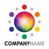 Icono del sol del arco iris y diseño de la insignia Imágenes de archivo libres de regalías