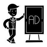 Icono del soporte del hombre del hombre de negocios que se inclina, ejemplo del vector, muestra negra en fondo aislado stock de ilustración