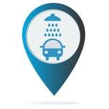 Icono del túnel de lavado en indicador del mapa Imágenes de archivo libres de regalías