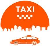 Icono del taxi con la ciudad Imágenes de archivo libres de regalías