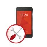 Icono del teléfono para las reparaciones ayuda y mantenimiento Imagenes de archivo