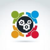 Icono del tema del trabajo en equipo de los engranajes y de los dientes, vector Fotos de archivo