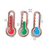 Icono del termómetro del vector en estilo cómico Ejemplo p de la muestra de la meta stock de ilustración