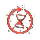 Icono del tiempo de la historieta del vector en estilo cómico Illustra de la muestra del reloj de arena ilustración del vector