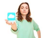 Icono del tiempo en la mano de la mujer Imagen de archivo libre de regalías
