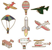 Icono del transporte aéreo de la historieta Fotos de archivo