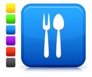 Icono del utensilio en la colección cuadrada del botón de Internet Foto de archivo