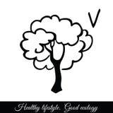 Icono del vector del árbol del esquema Un símbolo de la buena ecología imagen de archivo libre de regalías