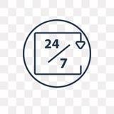 24/7 icono del vector aislado en el fondo transparente, 24/7 linear ilustración del vector