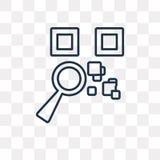 Icono del vector del código de Qr aislado en el fondo transparente, Q linear ilustración del vector