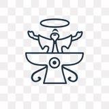 Icono del vector de Faravahar en el fondo transparente, linear stock de ilustración