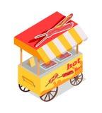 Icono del vector de Fried Sausages Cart Store Isometric ilustración del vector