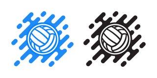 Icono del vector de la bola del voleibol aislado en blanco Icono del vector de la bola del water polo ilustración del vector