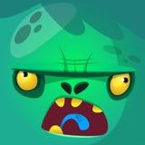 Icono del vector de la cara del zombi del monstruo de la historieta Avatares cuadrados lindos para Halloween Fotografía de archivo