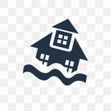 Icono del vector de la casa de la inundación aislado en el fondo transparente, F stock de ilustración
