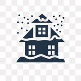 Icono del vector de la casa Nevado aislado en el fondo transparente, nieve stock de ilustración