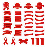 Icono del vector de la cinta fijado en el fondo blanco La bandera de la colección aisló el ejemplo de las formas del regalo y del libre illustration