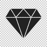 Icono del vector de la gema de la joya del diamante en estilo plano Piedra preciosa IL del diamante stock de ilustración