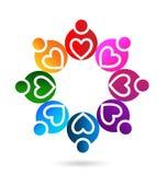 Icono del vector de la gente del trabajo en equipo del corazón stock de ilustración