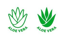 Icono del vector de la hoja del verde de la etiqueta de Vera del áloe ilustración del vector