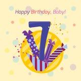 Icono del vector de la insignia del feliz cumpleaños Foto de archivo