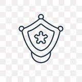 Icono del vector de la insignia de la policía aislado en el fondo transparente, lin stock de ilustración