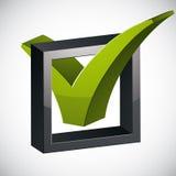 Icono del vector de la marca de verificación tick3d en el fondo blanco, voto Imagenes de archivo