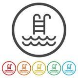 Icono del vector de la piscina aislado ilustración del vector