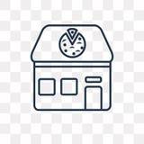 Icono del vector de la pizzería aislado en el fondo transparente, linear libre illustration