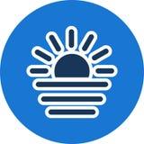 Icono del vector de la puesta del sol stock de ilustración