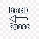 Icono del vector de la tecla de retroceso aislado en el fondo transparente, linear stock de ilustración