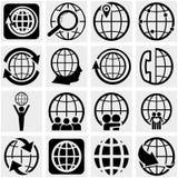 Icono del vector de la tierra del globo fijado en gris stock de ilustración