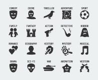 Icono del vector de los géneros de la película Imágenes de archivo libres de regalías