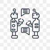 Icono del vector de los robots aislado en el fondo transparente, Ro linear stock de ilustración