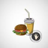 Icono del vector del bocadillo de los alimentos de preparación rápida y de una bebida Foto de archivo libre de regalías