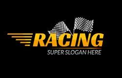 Icono del vector del campeonato que compite con Concepto rápido del logotipo de la raza con la bandera Marcado en caliente de la  Foto de archivo