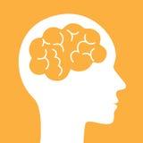 Icono del vector del cerebro Símbolo simple de la silueta Imagen de archivo libre de regalías