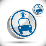 Icono del vector del coche policía 3d Foto de archivo