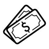 Icono del vector del dólar del dinero Ejemplo blanco y negro del efectivo Icono linear de las actividades bancarias del esquema Fotos de archivo libres de regalías