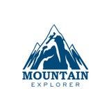 Icono del vector del deporte de la expedición del explorador de la montaña stock de ilustración