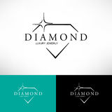 Icono del vector del diamante fijado en la línea estilo El panel solar y muestra para la energía alternativa Imagen de archivo libre de regalías