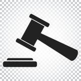 Icono del vector del martillo de la subasta Icono plano del tribunal de la corte Autobús simple libre illustration